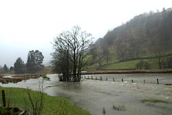 flooded fields near the church